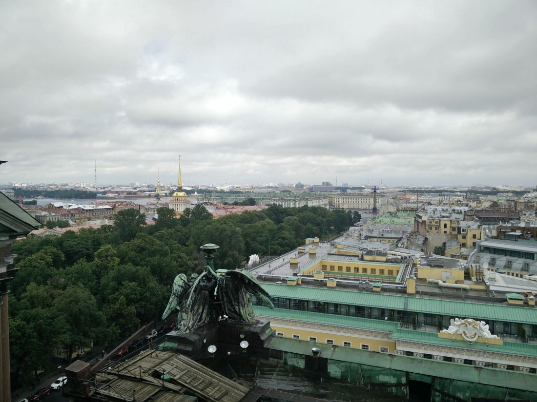 View from St Isaac's, looking directly towards the Winter Palace (the mint-green building in the centre); the gold spire is the Admiralty building, with Petropavlovskaya fortress behind it.