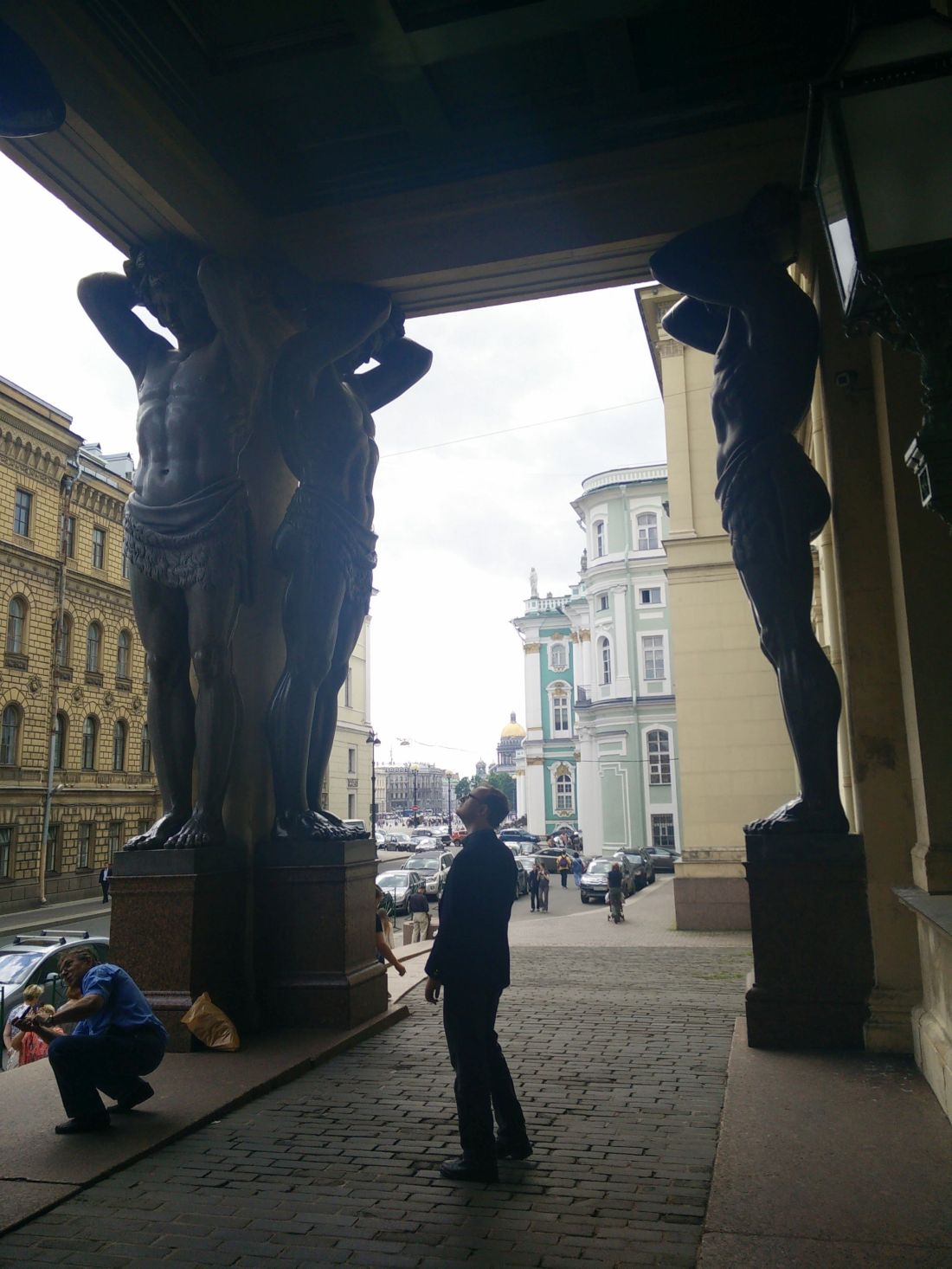 Atlas statues at the Hermitage, at the end of Millionnaya Street.
